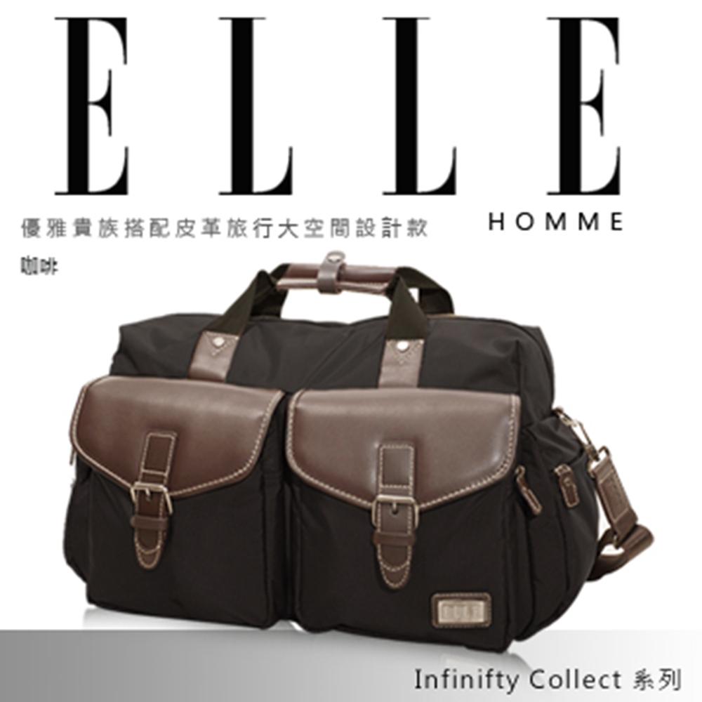 ELLE HOMME 復古潮流牛仔皮帶丹寧設計休閒側背包款-黑色