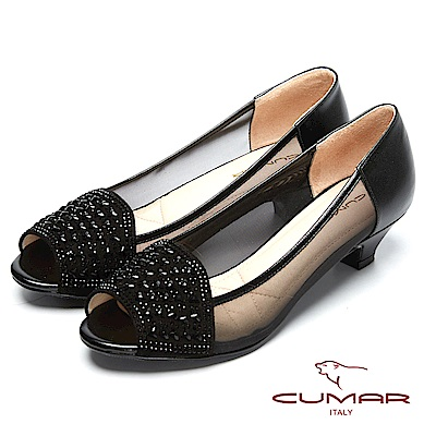 CUMAR透視裸肌-水鑽裝飾透膚魚口鞋-黑色