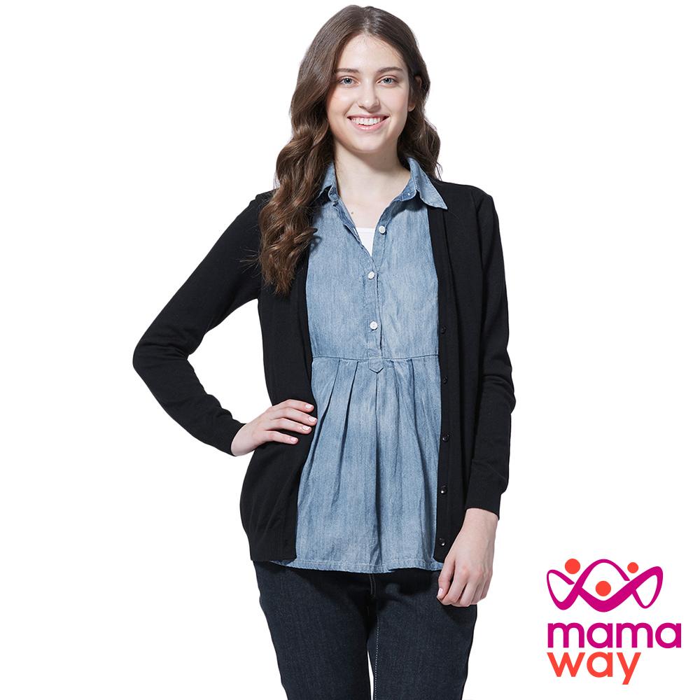 孕婦裝 哺乳衣 襯衫領針織外套孕哺假兩件上衣(共二色) Mamaway