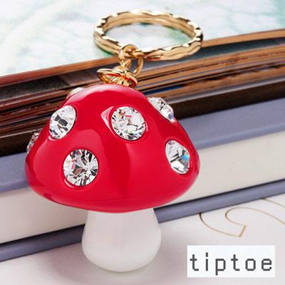 tiptoe by e.m. 水晶香菇造型 壓克力鎖匙圈 (WHITE)