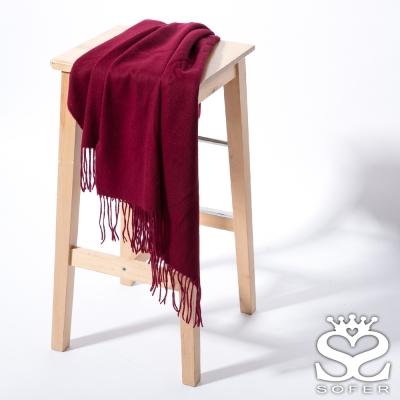 SOFER-簡約素色100-純羊毛保暖披肩-圍巾-酒漾紅