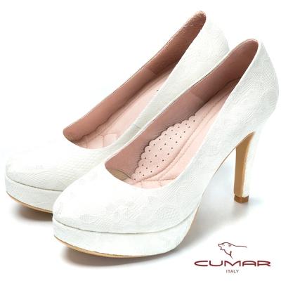 CUMAR幸福佳人 時尚蕾絲高跟新娘鞋-白色