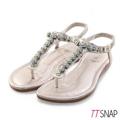 TTSNAP夾腳涼鞋-甜美水鑽花型平底涼鞋 金黃