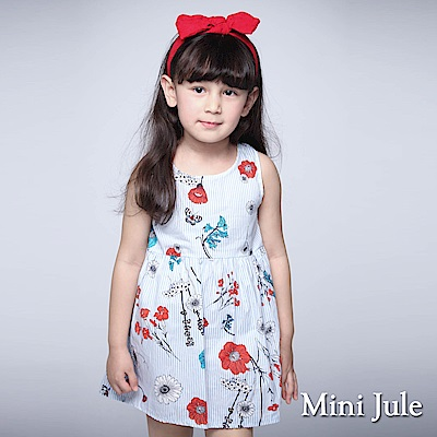 Mini Jule 童裝-洋裝 彩花直條紋後拉鍊背心洋裝(藍)