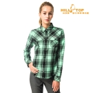 【hilltop山頂鳥】女款吸濕保暖長襯衫C05F17深綠/淺綠格子