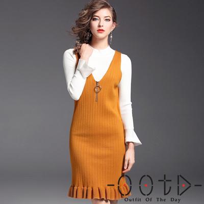 圓領針織上衣+針織吊帶裙兩件套 (白+橙色)-OOTD