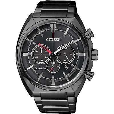 CITIZEN星辰 黑潮旋風 光動能三眼運動錶(CA4285-50H)-黑/43mm