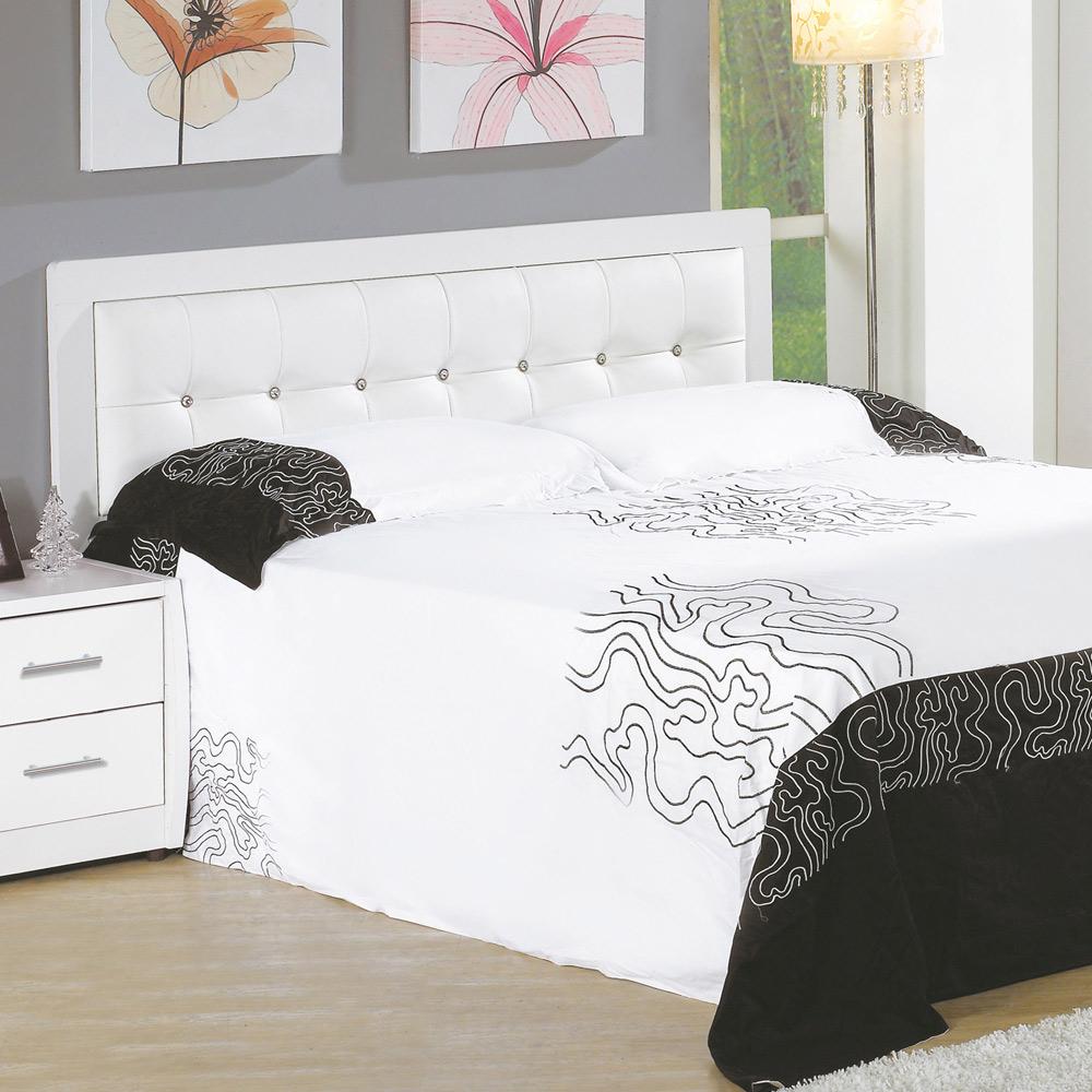 AT HOME-亞斯5尺白色水鑽雙人床頭片