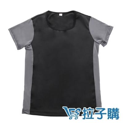束胸-黑灰拼色短袖套頭泳衣褲組-黑-S-XXL-L