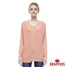 BRAPPERS 女款 不對稱剪裁落肩長袖線衫- 粉橘