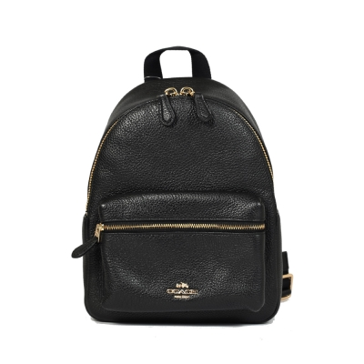 COACH 荔枝皮革前口袋後背包(小-黑色)