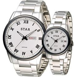 STAR 時代 永恆諾言時尚對錶-白/43+32mm