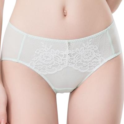 思薇爾 波希女伶系列M-XXL蕾絲中腰三角內褲(淡青綠)