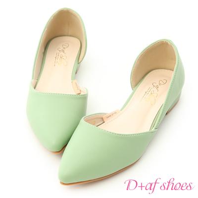 D+AF 粉彩繽紛.素面側挖空尖頭鞋*綠