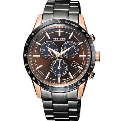 CITIZEN 光動能雙時區萬年曆錶(BL5496-53E)-咖啡色x黑色/40mm