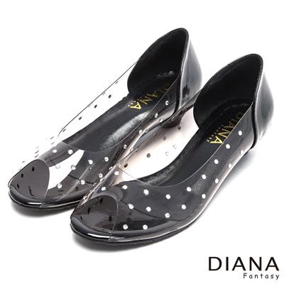 DIANA閃耀亮鑽透視魅力魚口鞋-耀眼迷人-黑