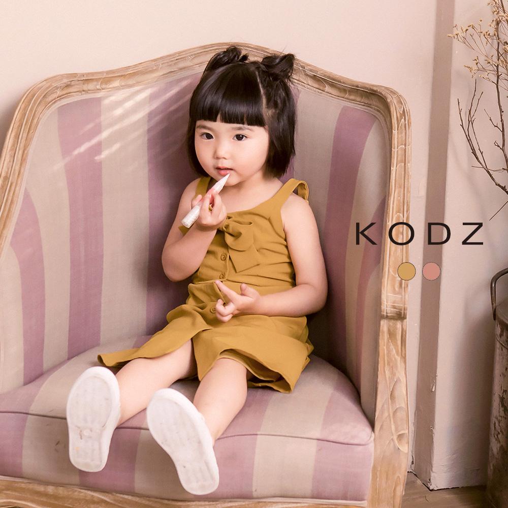 東京著衣-KODZ-酷琪琪聯名甜美氣質蝴蝶結細肩帶洋裝-童-(共二色)