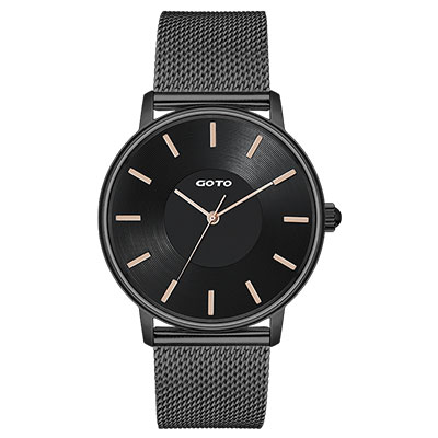 GOTO THINK簡約米蘭時尚手錶-IP黑/43mm