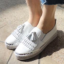 正韓流蘇牛皮懶人鞋