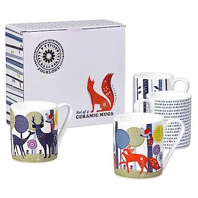英國Wild&Wolf 森林動物系列 瓷器馬克杯四入組 茶杯 300ml