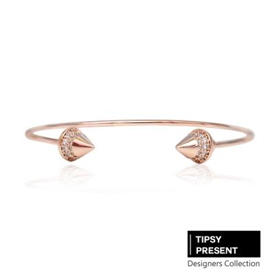 微醺禮物 韓製 手環 鋯石 鍍16K金 個性龐克 開口式 手環