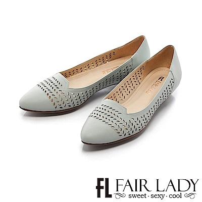 Fair Lady 知性桂冠葉雕花縷空尖頭低跟鞋 藍