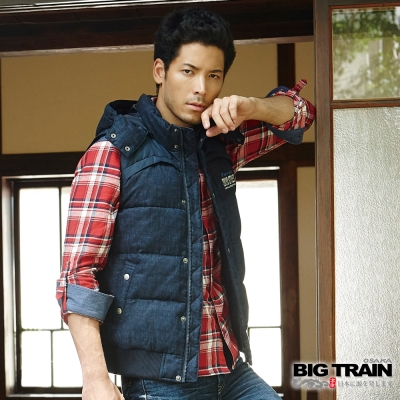 BIG TRAIN 男用仿毛呢絲棉背心-男-深藍印紋
