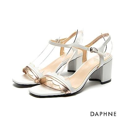 達芙妮DAPHNE 涼鞋-花邊撞色一字帶中跟涼鞋-白