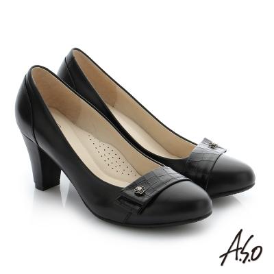 A.S.O 個性美型 真皮飾釦奈米窩心粗跟鞋 黑色