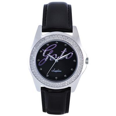GOTO Starry Sky 晶鑽時尚腕錶-黑x紫/38mm