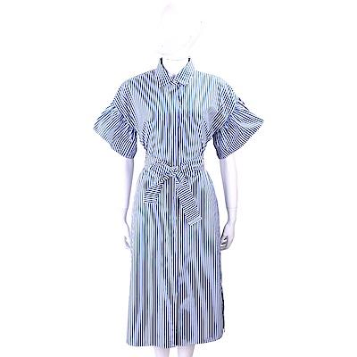 Max Mara-WEEKEND 刺繡蝴蝶藍白條紋襯衫式綁腰洋裝