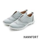 HANNFORT ZERO GRAVITY套入式真皮牛津氣墊鞋-女-淺米灰