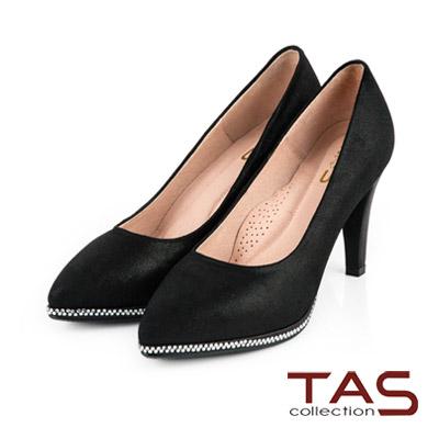 TAS-閃色羊皮水鑽包台尖頭高跟鞋-質感黑