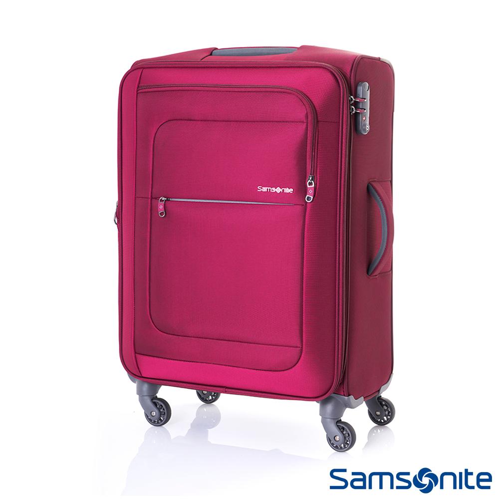 Samsonite新秀麗 24吋Populite四輪TSA超輕量可擴充布面行李箱(紅)