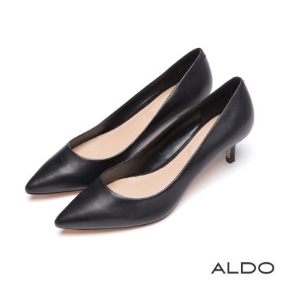 ALDO-國民美鞋首選原色真皮尖頭細高跟鞋-尊爵黑