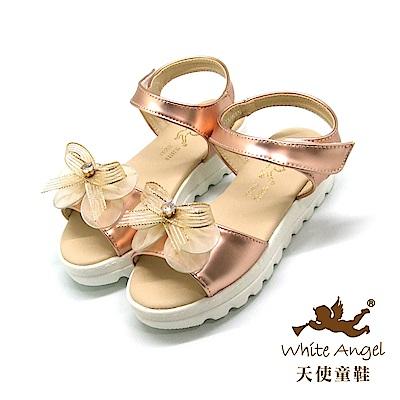 天使童鞋-J839 蝶戀花厚底涼鞋(中-大童)-金