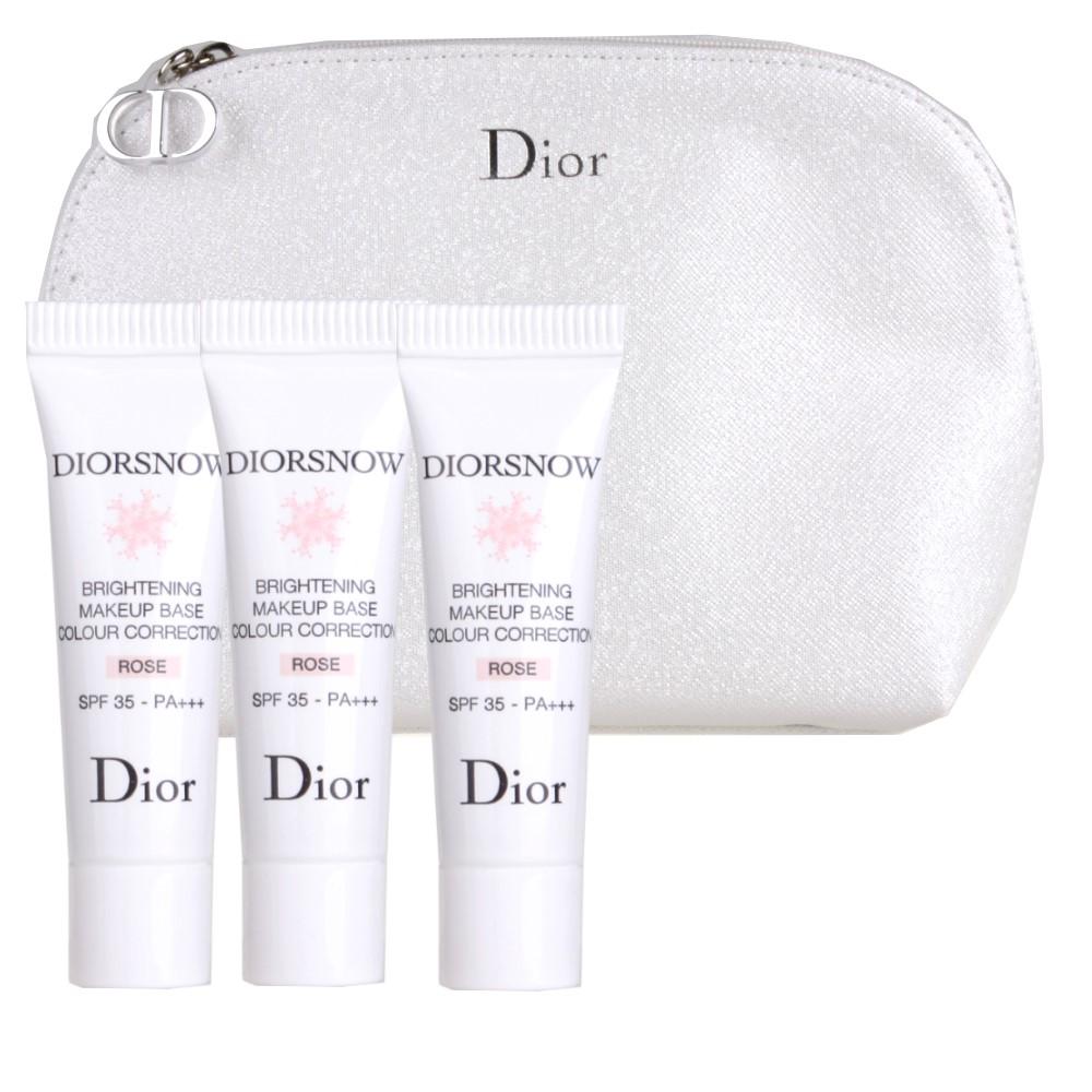 DIOR迪奧雪晶靈潤色隔離妝前乳SPF35 PA玫瑰粉7MLX3化妝包