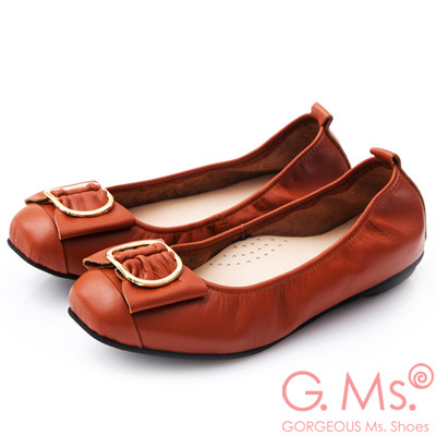 G.Ms. MIT系列-牛皮金屬穿釦蝴蝶結娃娃鞋-橘色