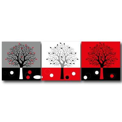 123點點貼- 三聯式無痕創意壁貼 - 獨樹一格30*30cm