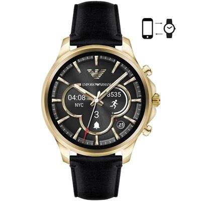 Emporio Armani亞曼尼 Connected觸控智能腕錶-46mm/金X黑色