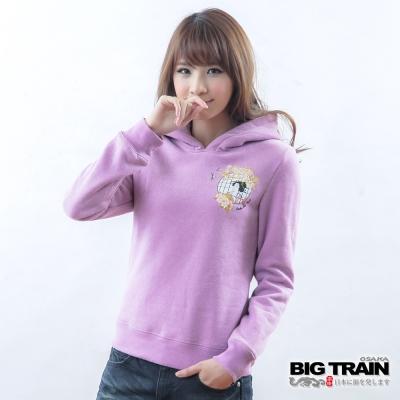 BIG TRAIN 窗櫺花姬連帽TEE-女-紫