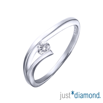 Just Diamond 9分18K金鑽石戒指-熱舞(彎)