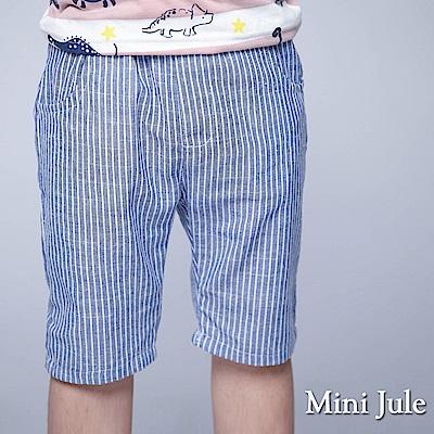 Mini Jule 童裝-短褲 直紋雙口袋鬆緊短褲(藍)