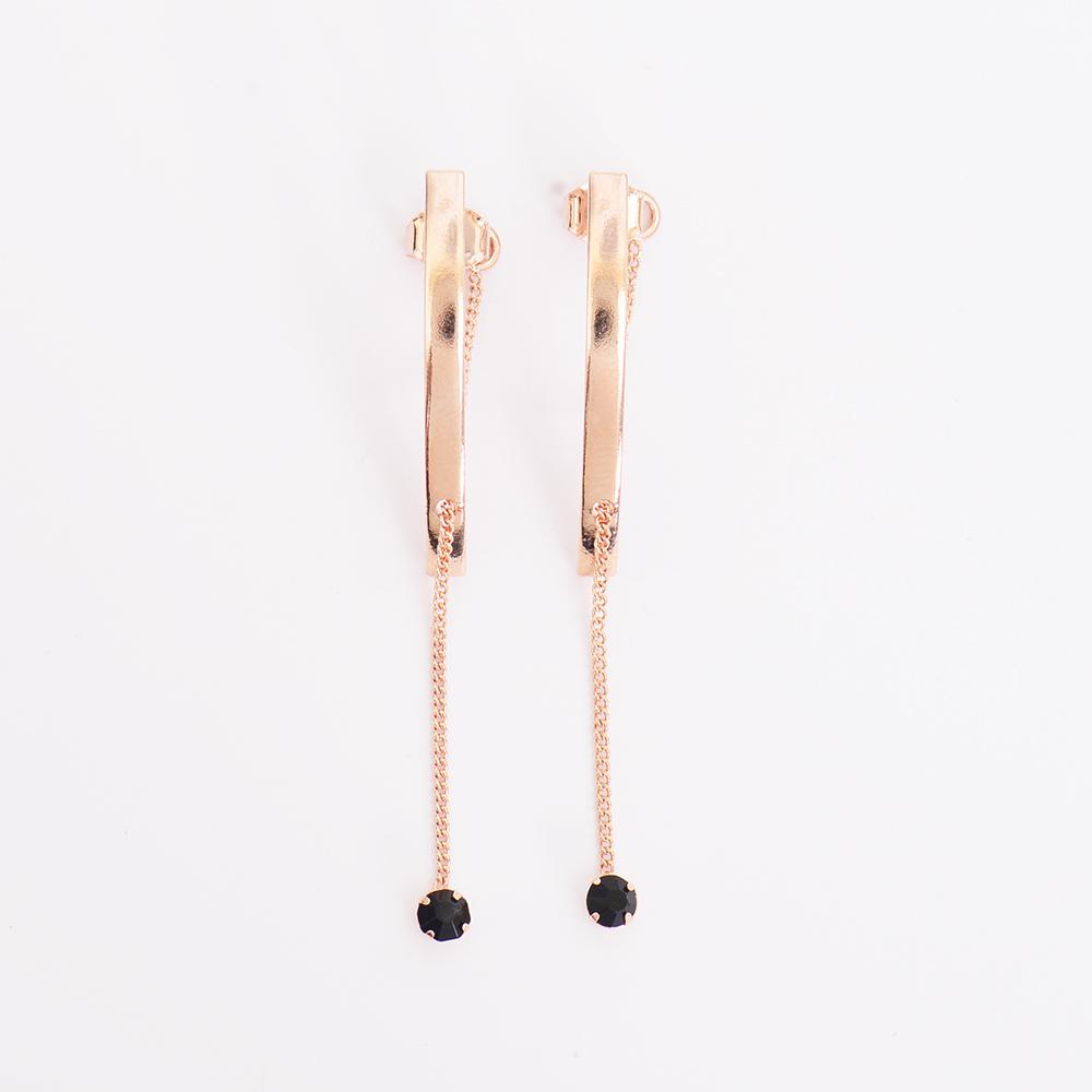 微醺禮物 正韓 鋼針 弧形金屬 垂墜 黑水鑽 耳針 耳環