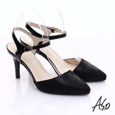 A.S.O 輕透美型 鏡面牛皮金箔繫帶高跟涼鞋 黑
