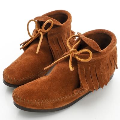 MINNETONKA 印地安手工流蘇短靴 (展示品)