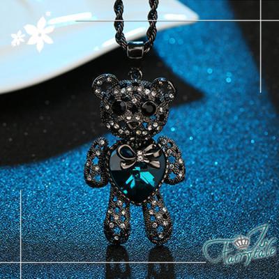 iSFairytale伊飾童話 小熊的心 暗黑愛心水晶長鍊