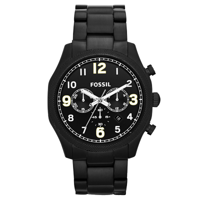 FOSSIL 黯黑鐵甲武士個性腕錶-IP黑/45mm