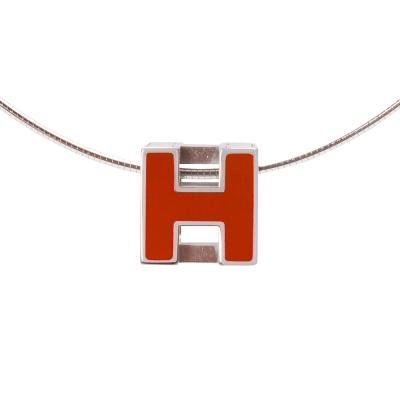 HERMES 經典立體H LOGO簍空方塊項鍊(橘X銀)