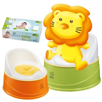 小獅王辛巴 四合一成長學幼兒便器+Nac Nac 乾式嬰兒超柔細紗布毛巾80抽*1盒